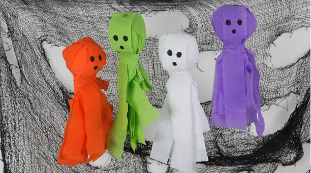 Crepe Paper Ghosts holidays  crafties Pinterest Crepe paper - halloween decorations and crafts