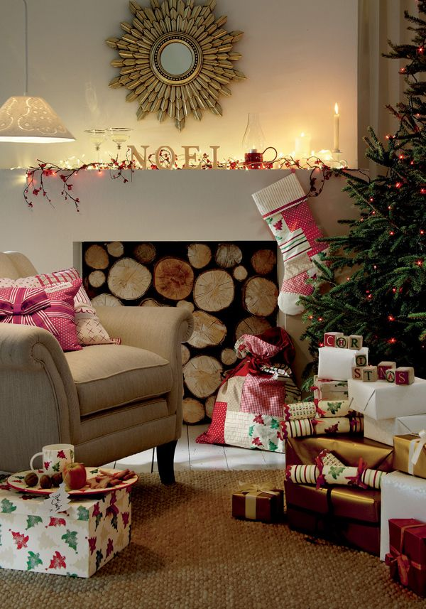 Festive living room.