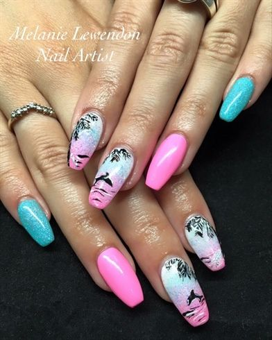Bright Tropical Acrylic Nails With Handpainted Design Tropical