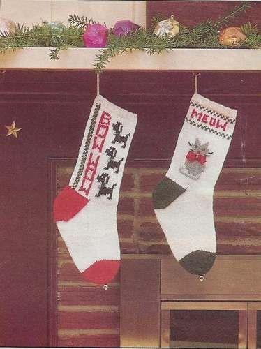 Beautiful Knit Christmas Pattern Stockings Were Hung eBay You