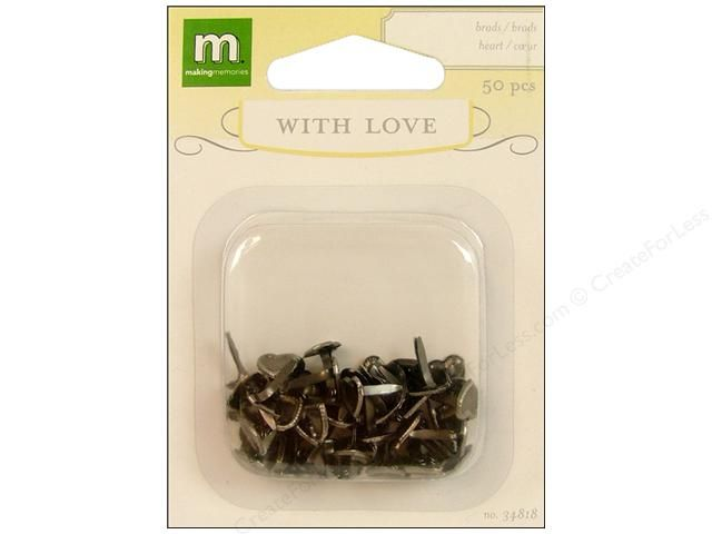 Making Memories Brads With Love Wedding Fashion Heart Silver 50pc