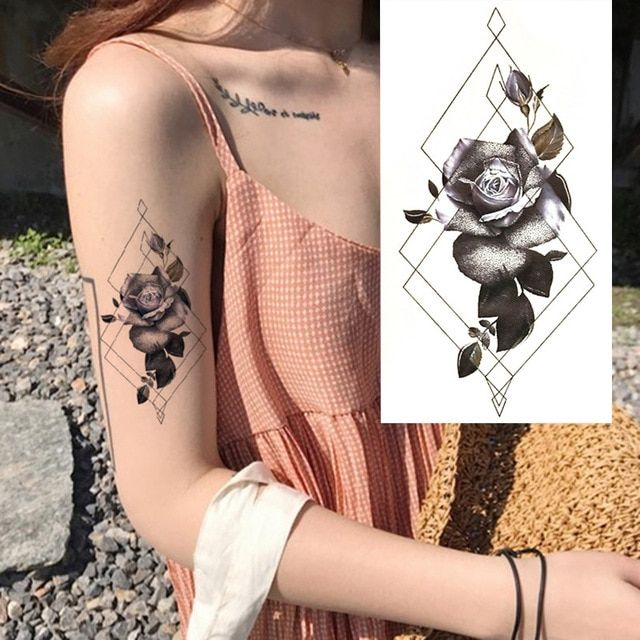 39036d1ce98a9 1 Pieces Compass Arrows Hot Black White Large Flower Henna Temporary Tattoo  Black Mehndi Style Waterproof Tattoo Sticker