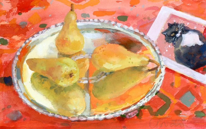 PEARS AND POSTCARD by GERALDINE GIRVAN - BODYCOLOUR 7 1/4 X 11 INCHES