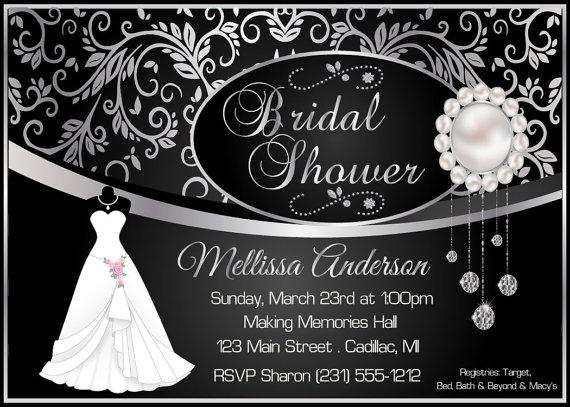 Elegant Bridal Shower Invitation Black Damask Silver Diamonds Pearls Di
