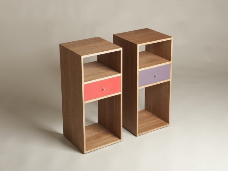 Nightstands: Two Narrow Nightstand Painted With Brown
