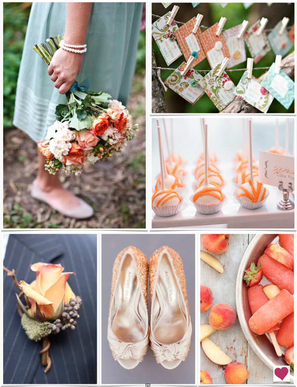 Tango Tangerine Shabby Chic Wedding Inspiration Board - By Heart Love Weddings
