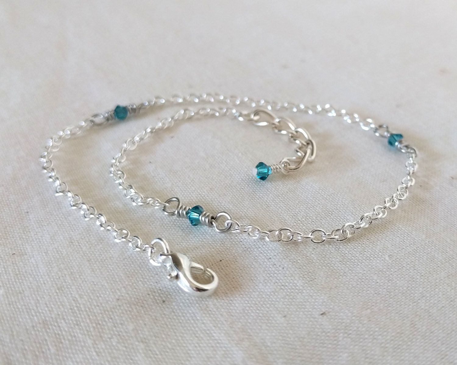Pee Blue Swarovski Crystal Anklet And Silver Ankle Bracelet Beach Something By Rdaydreams On Etsy