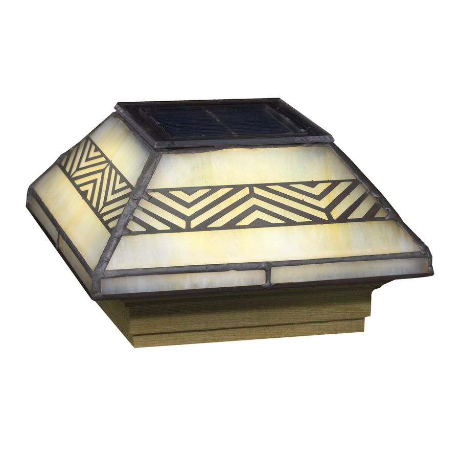 Shop Deckorators Stained Glass Glass And Wood Solar Post Cap Light