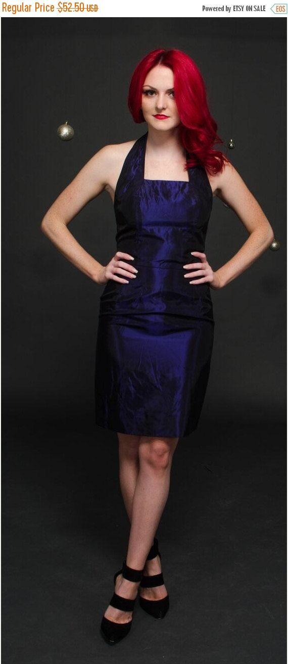 On Sale Short Metallic Dress Short Halter Dress By Chcvintage