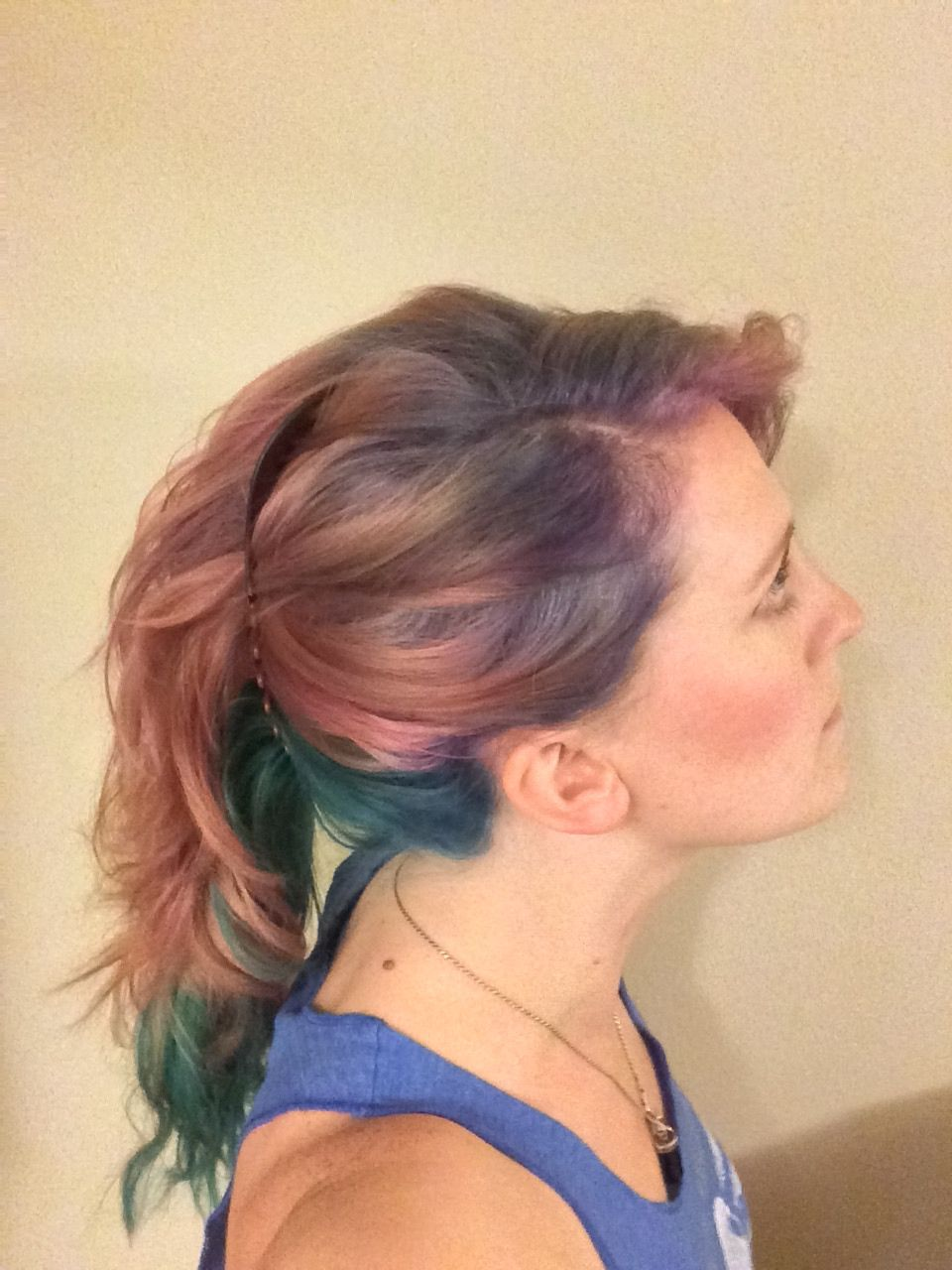 Pink blue purple teal hair color by amanda torres