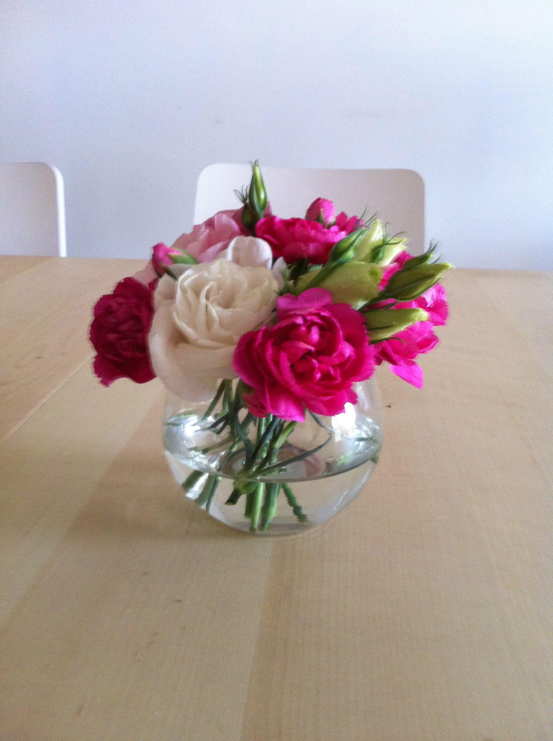 Flower practice in small round vase view 2 flower vase