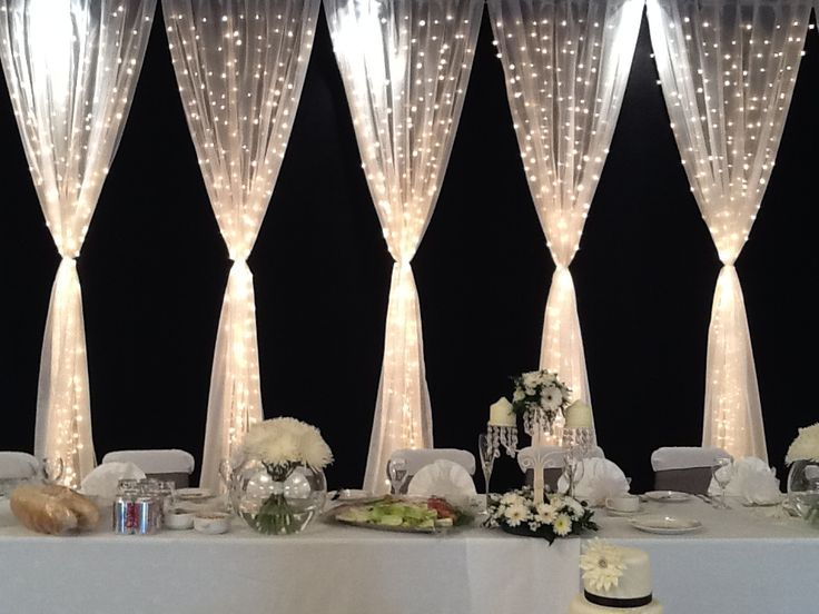 Pretty backdrop for party table. Tulle and twinkle lights ...