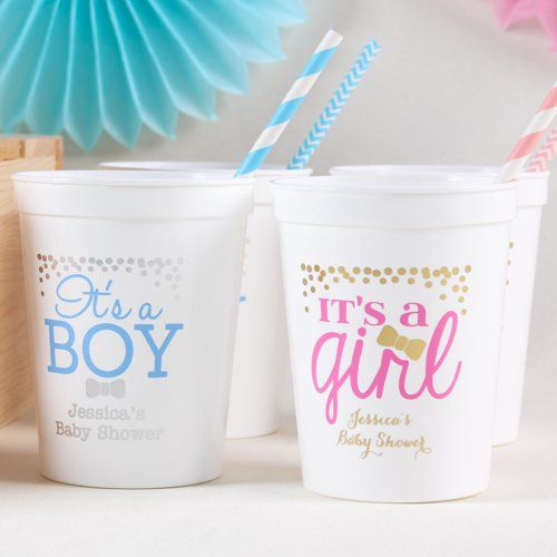 personalized baby shower stadium cups  personalised baby, reveal, Baby shower