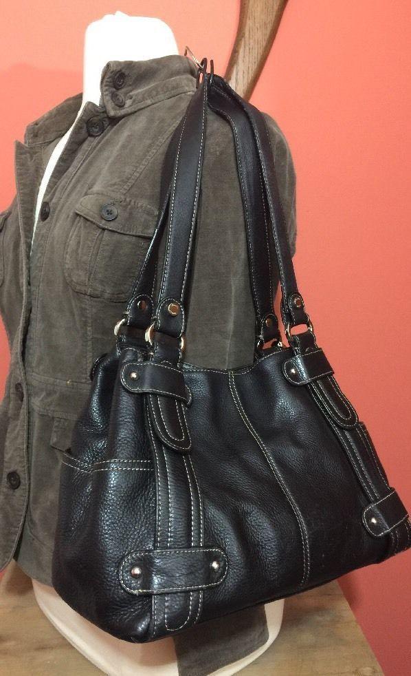 ed09f4bf8d Tignanello Black Leather shoulder bag Tote womens purse handbag hobo tote   Tignanello  ShoulderBag