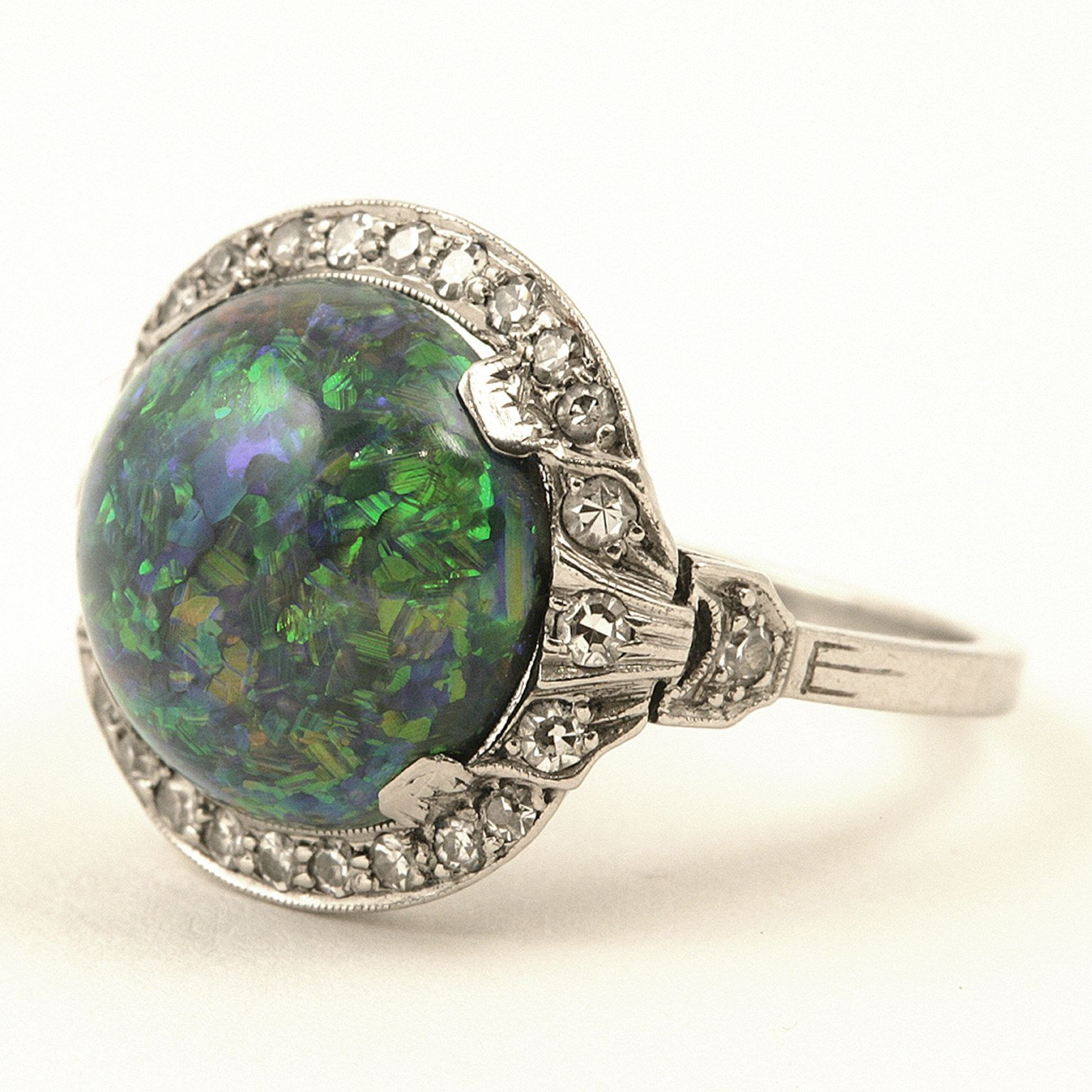 J. E. Caldwell Art Deco Black Opal, Diamond and Platinum Ring, 1925
