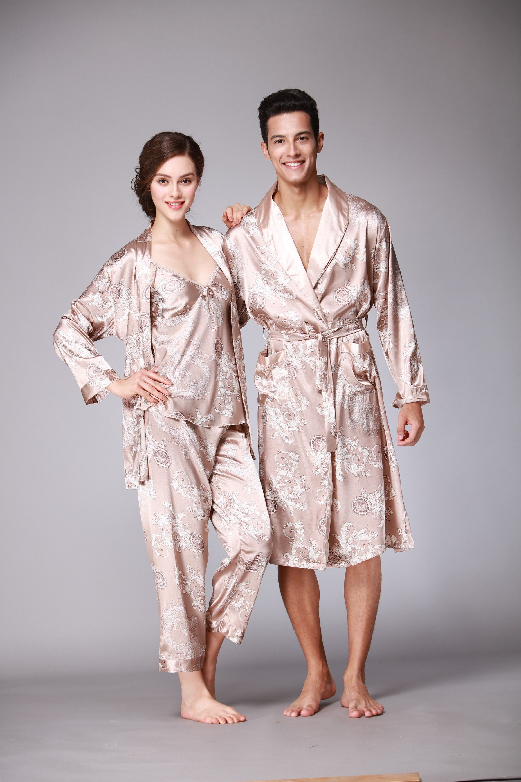 411d840c5b  Lovers  NightGowns  Couples  Sleepwear  Sexy  Nightwear  Charming   Bedskirt  DeepVNeck  Pajamas  Womens  SleepDress  Mens  Robe