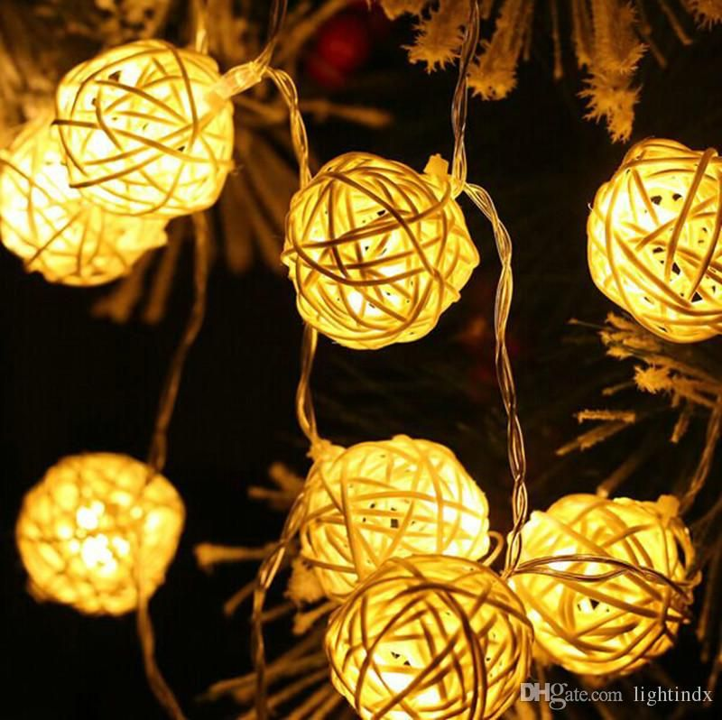 Decorative Rattan Balls Christmas Lights Garlands 4M 20 Led Rattan Ball Led String Fairy