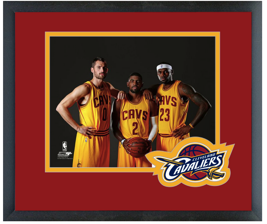 Kevin Love, Kyrie Irving, & LeBron James 2014 Cavs - 11 x 14 Matted/Framed Photo
