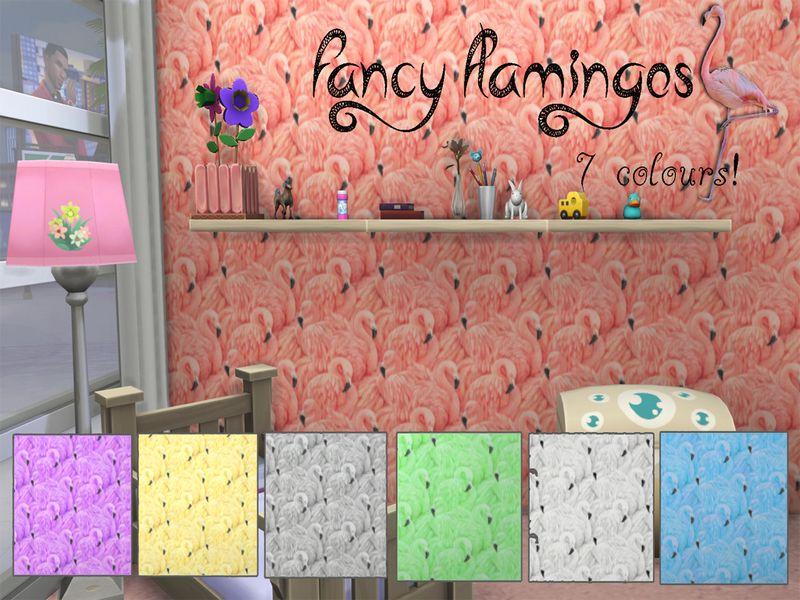 Pin By Sharon337 On Ts4 Walls Floors Flamingo Wallpaper Fancy