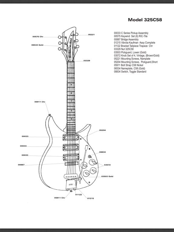Official Rickenbacker 325C58 parts list diagram. this is