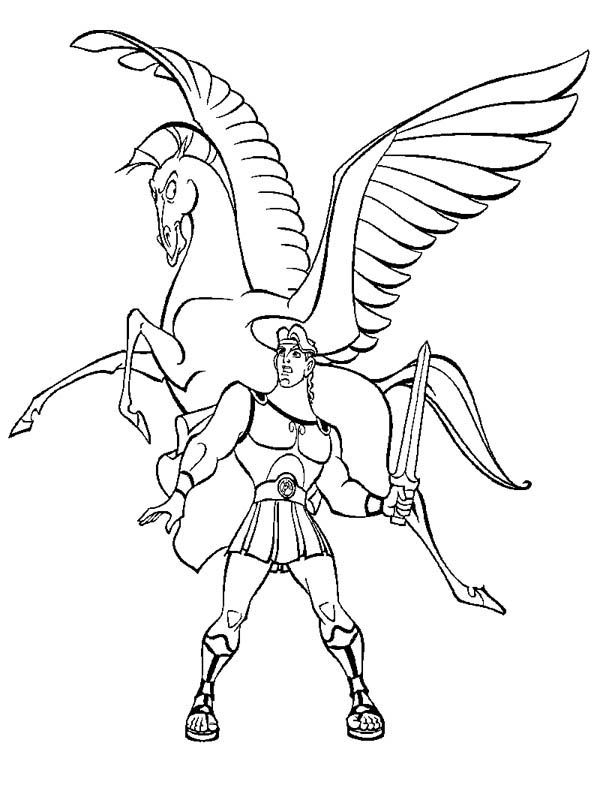 Hercules and Pegasus 2 Library Coloring Pages