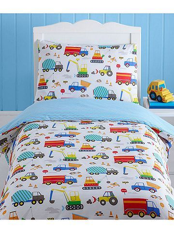 Bright Trucks 4 In 1 Junior Bedding Bundle Duvet Pillow And Covers