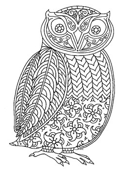 Owl Zentangle Coloring Page Coloring Pages Zentangle Color
