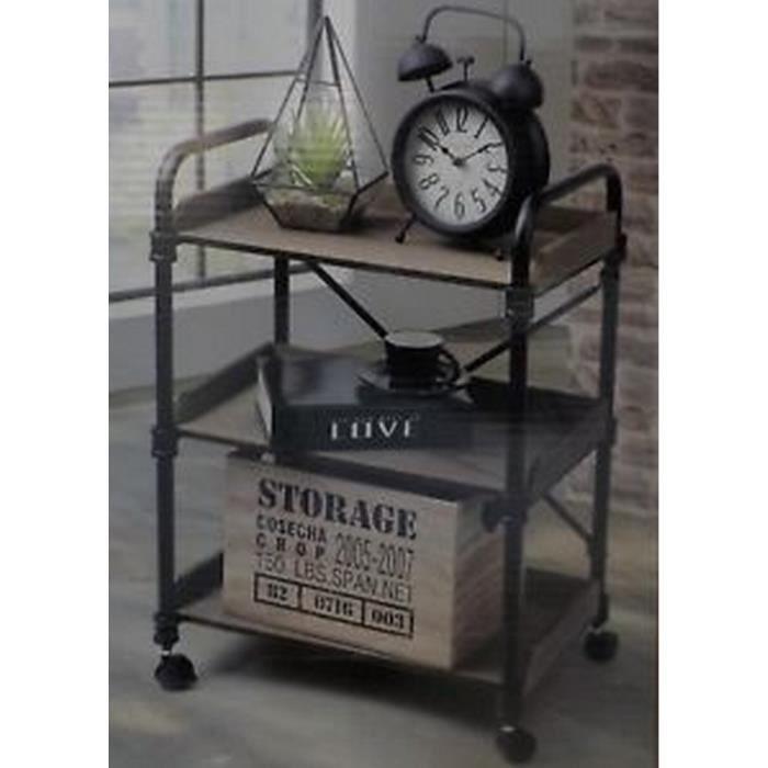 meuble sur roulette bois (mdf) et fer forgé NEUF Caractéristiques - meuble en fer design