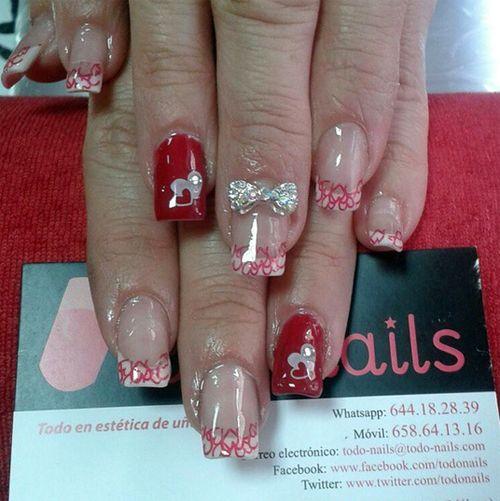 Unas Acrilicas Con Decoracion Para San Valentin Nails Manicure Nail Polish Art