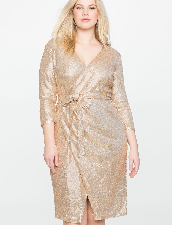 6445e4d15ad Studio Sequin Wrap Dress | Women's Plus Size Dresses | Plus Size CAN ...