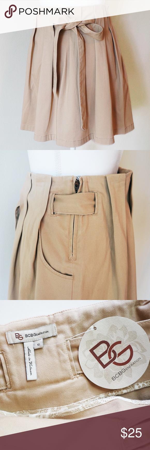 a18a75dea0 NWT BCBGeneration khaki pleated twill skirt NWT BCBGeneration khaki  paperbag pleated twill skirt with tie belt