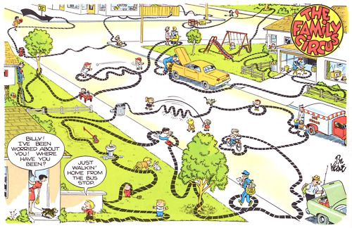 The Family Circus-Billy just walkin' home from the bus stop ... on western town map, greater vancouver map, new amsterdam map, city of new orleans map, unr parking map, ancient persia map, valley of kings map, city limits map, st thomas map, circuit map, cowboy map, colosseum map, red map, storybook map, colonial house map, princess map, usa travel map, ancient world map, magic map, encore map,