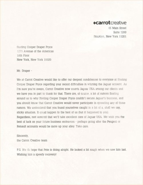 Jaguaru0027s Real New York Ad Agency Sends A Letter To Don Draper - advertising cover letters