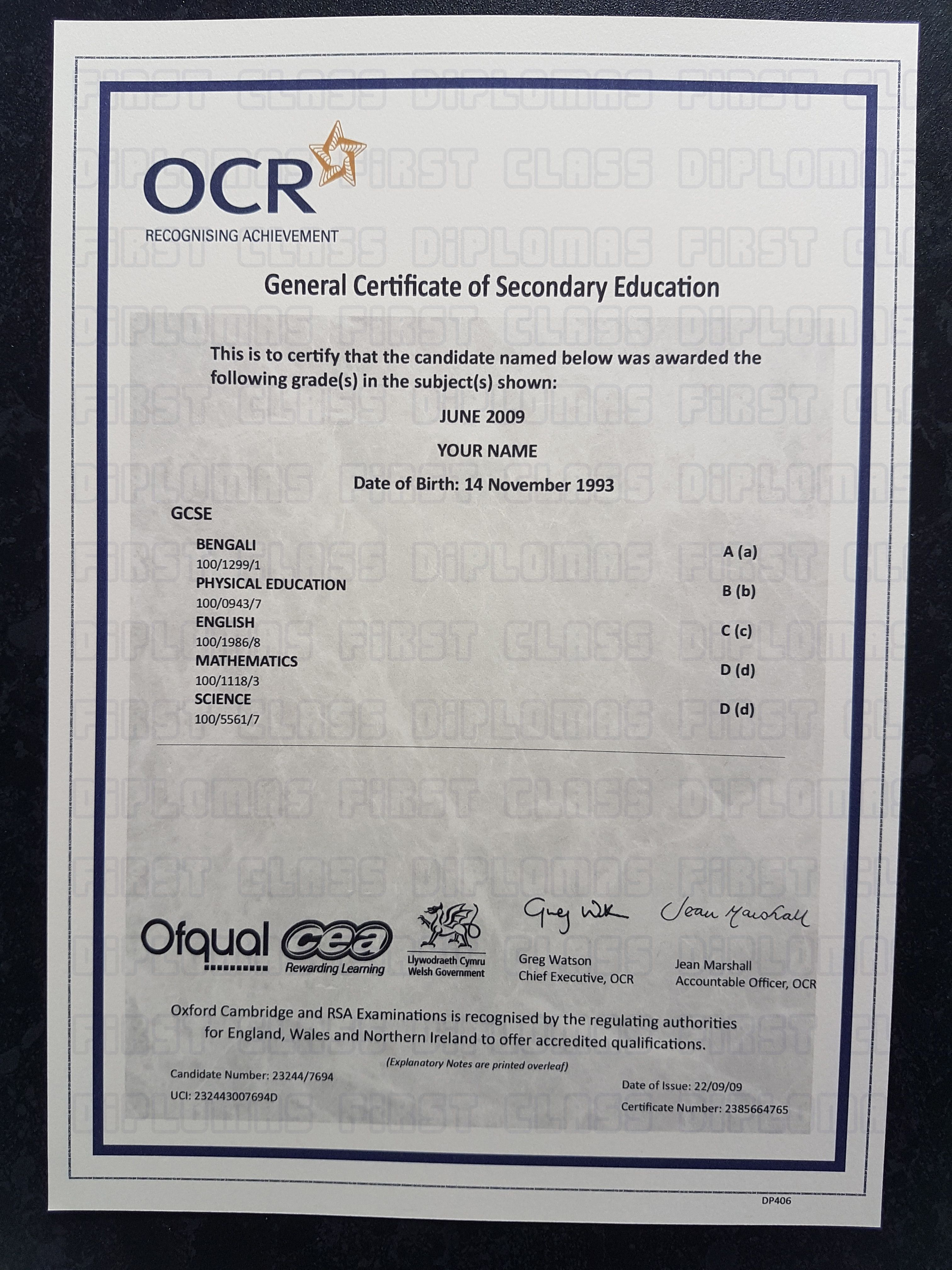 Realistic Gcse Certificate Template Free Worldwide Delivery Please
