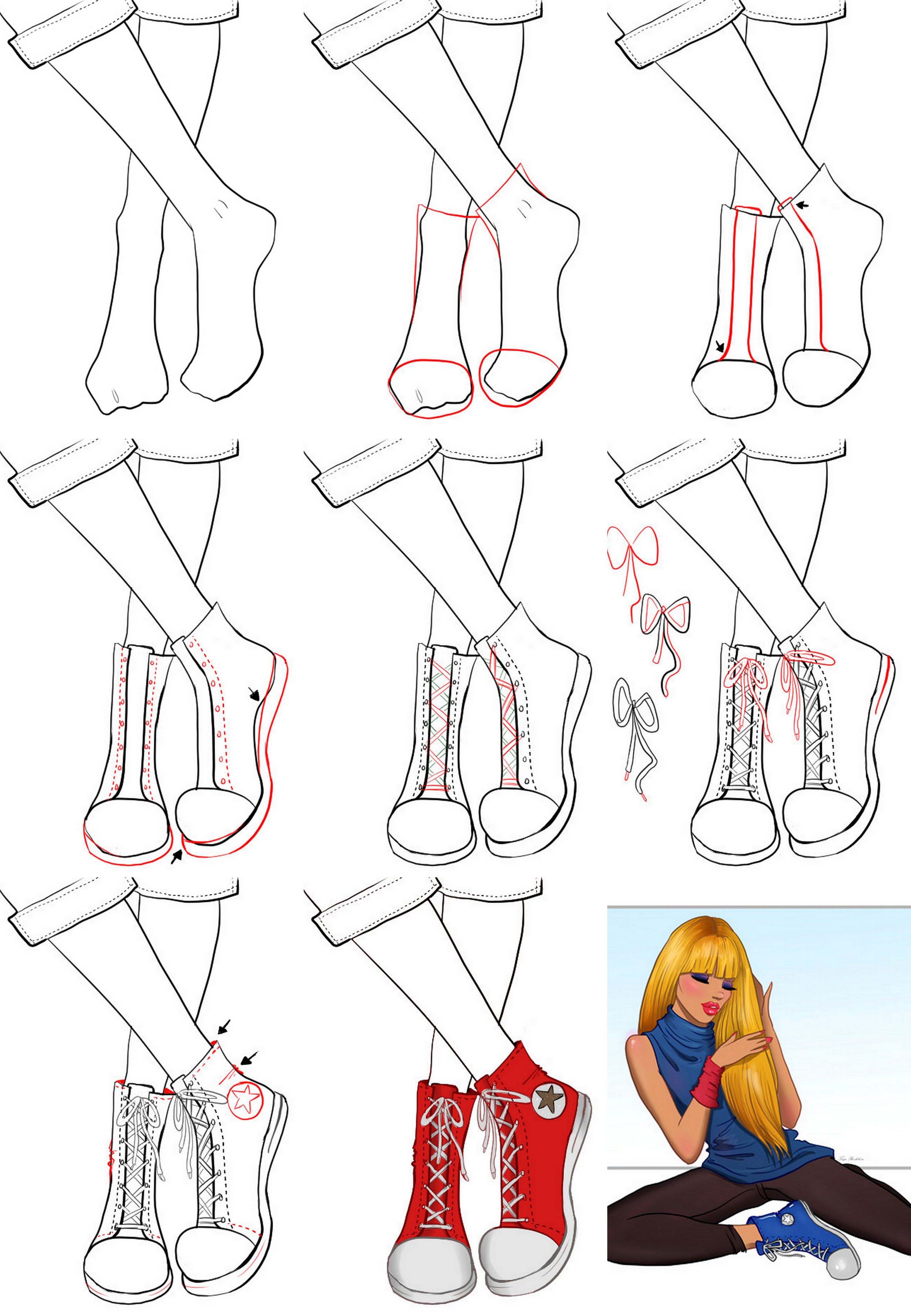 A step by step tutorial on how to draw sneakers. Fashion