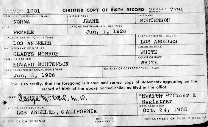 Marilyn Monroe Birth Certificate This Day in History Aug 5, 1962 - birth certificate