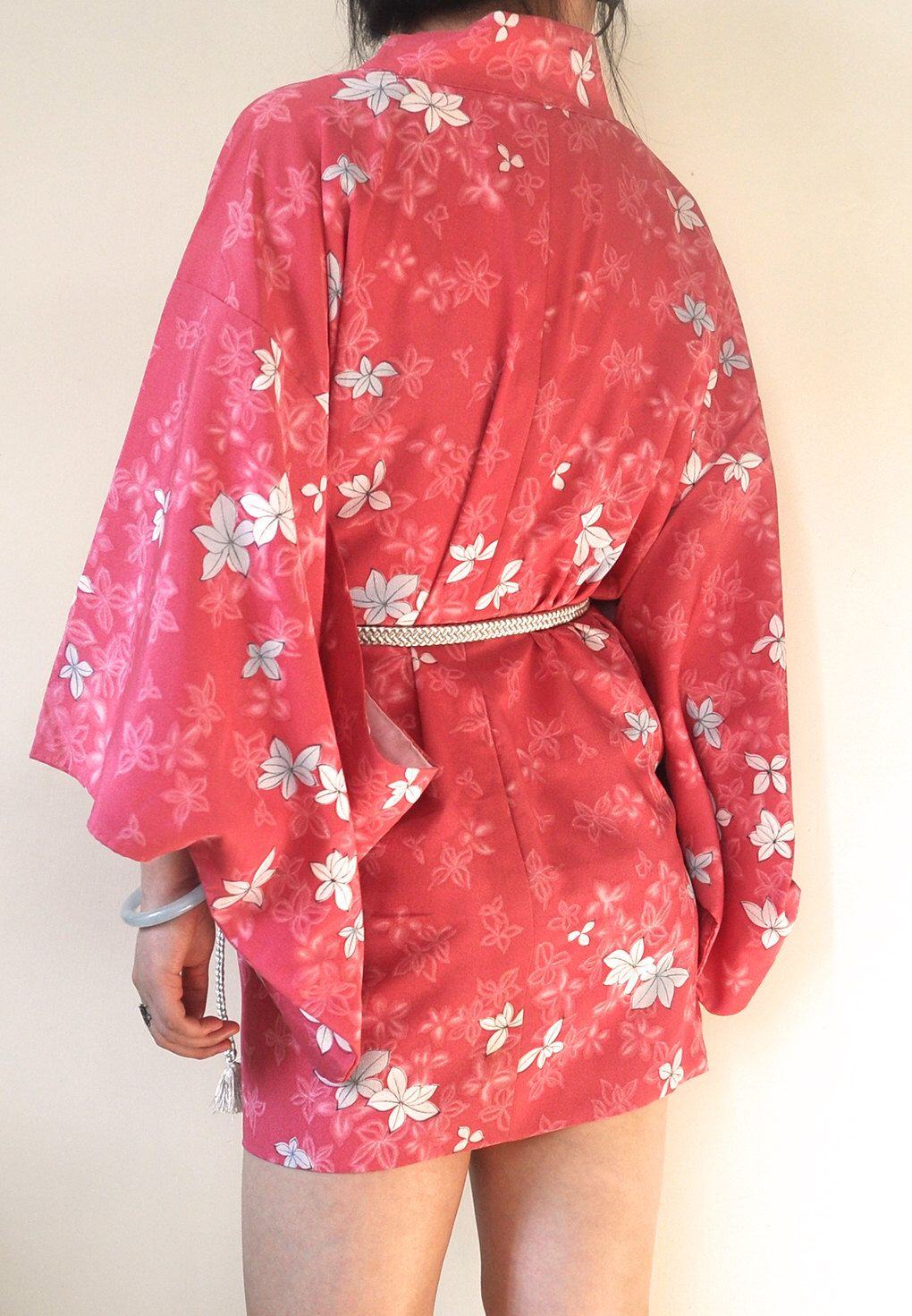 Japanese Kimono Jacket/ Authentic Vintage Floral Pink