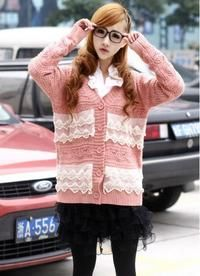 Pink Long Sleeved Knitted Cardigan/Sweater With  Lace Elements