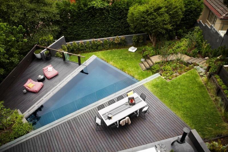 Garten-pool Ideen-2015-infinity Pool Mit Möblierter Holzterrasse ... Sommerlaune Pool Im Garten 68 Ideen