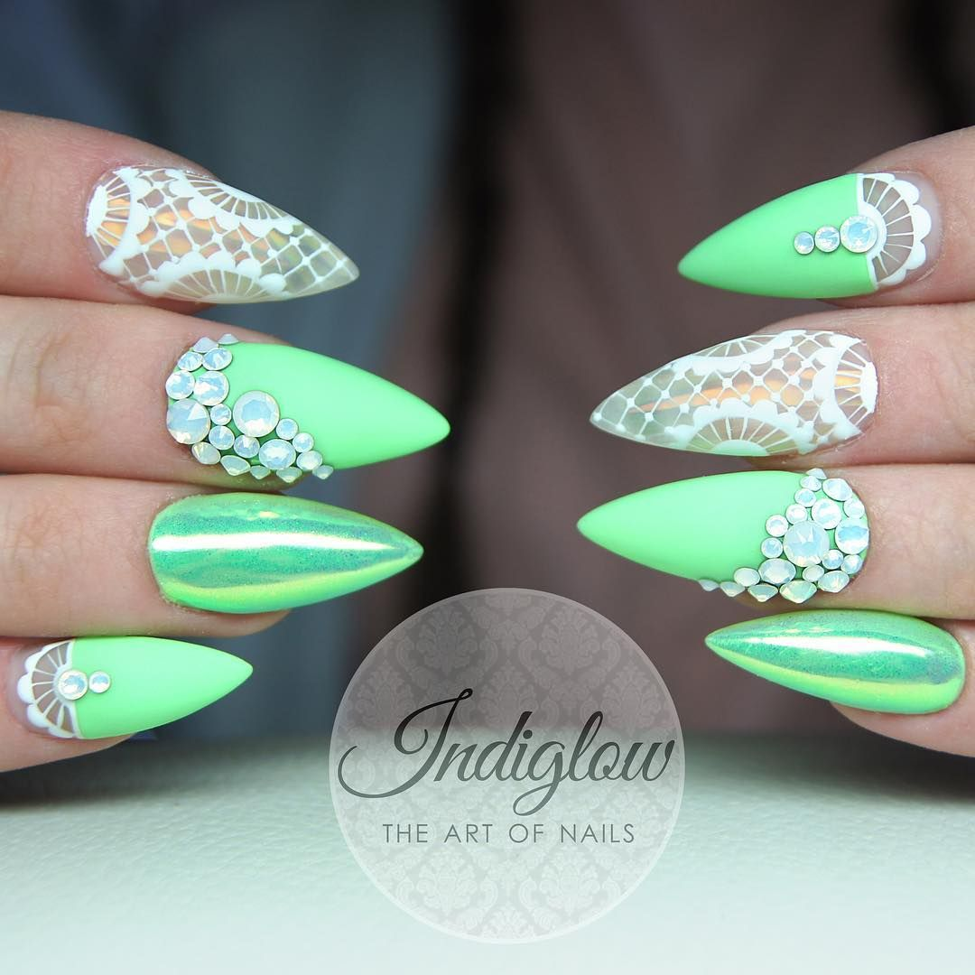 Neon Green Nails With Rhinestone Accents With Images Green
