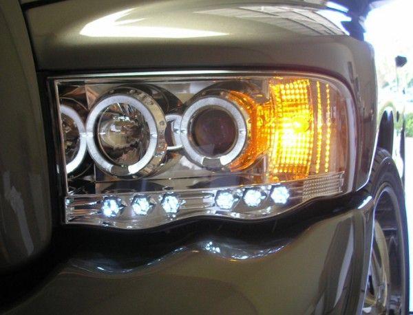 2002 2005 Dodge Ram Angel Eye Halo Led Projector Headlights Smoked Dodge Ram Dodge Projector Headlights