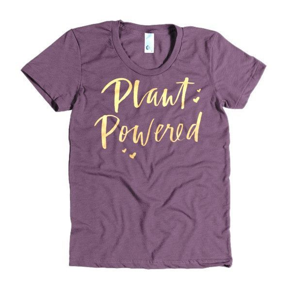 Plant Powered Tee in Gold Hearts
