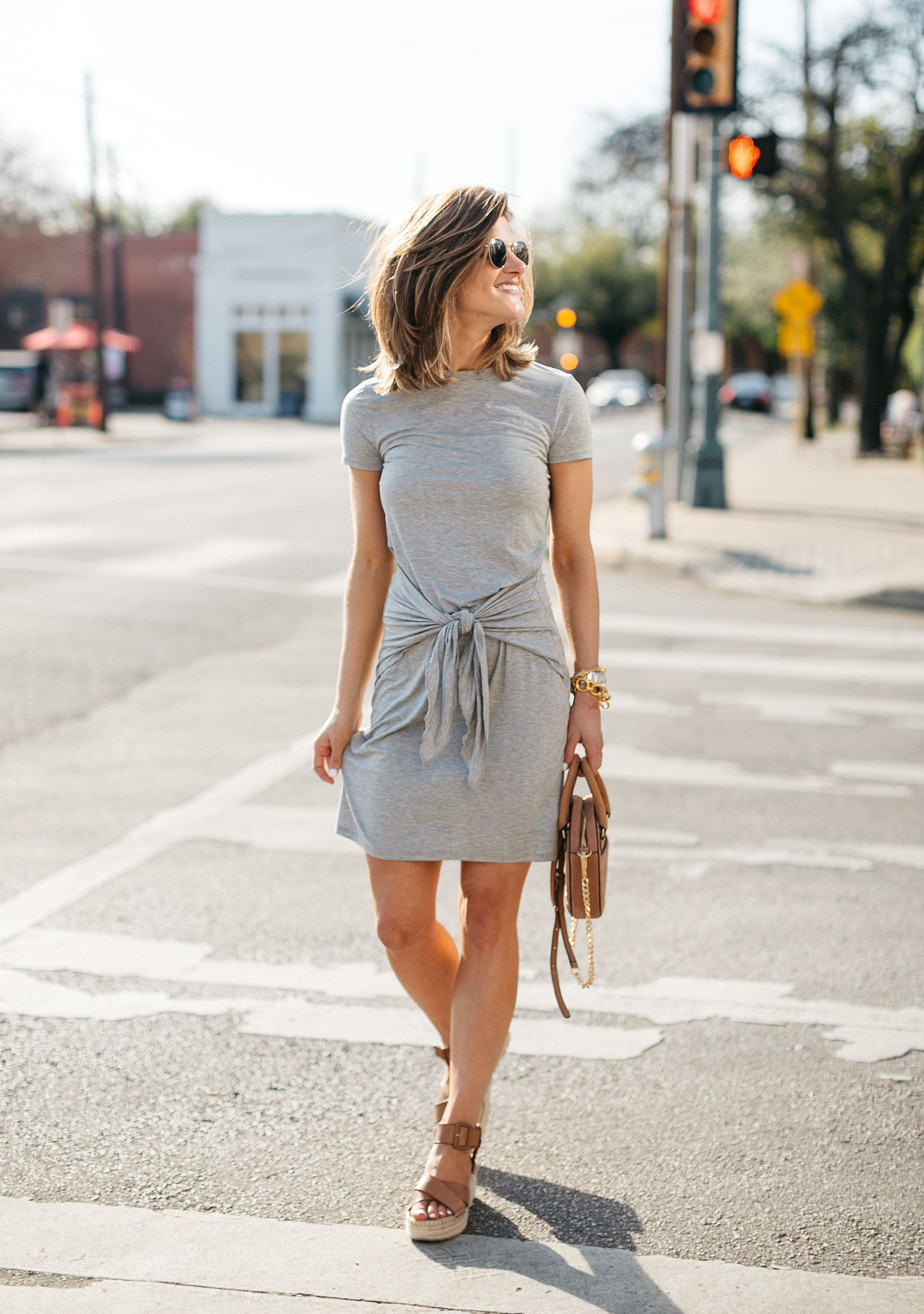 Our Favorite T Shirt Dresses For Spring Brightontheday Grey T Shirt Dress Shirt Dress Outfit Summer Dress Outfits [ 2476 x 1742 Pixel ]
