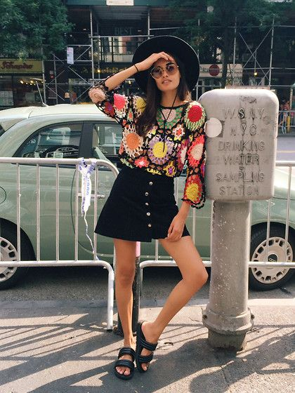 Get this look: http://lb.nu/look/7709102  More looks by Gizele Oliveira: http://lb.nu/gizeleoliveira  Items in this look:  Urban Outfitters Skirt, Urban Outfitters Sandals, Rat And Boa Dress, Miu Miu Sunglasses, Brixton Hat   #street #vintage #newyork #streetstyle #70s