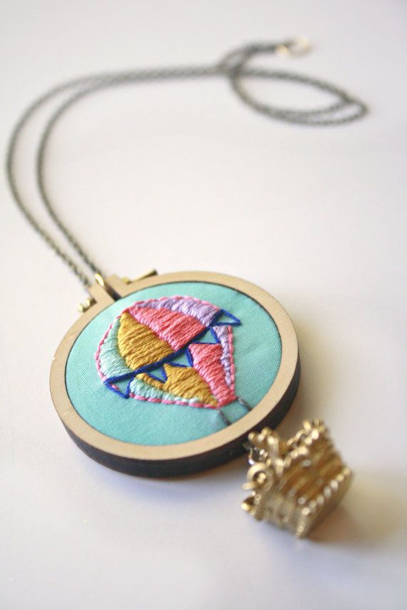 Hand Embroidered Hot Air Balloon Necklace Mini Embroidery Hoopu0026gt;Embroidered Jewelryu0026gt;Embroidery ...