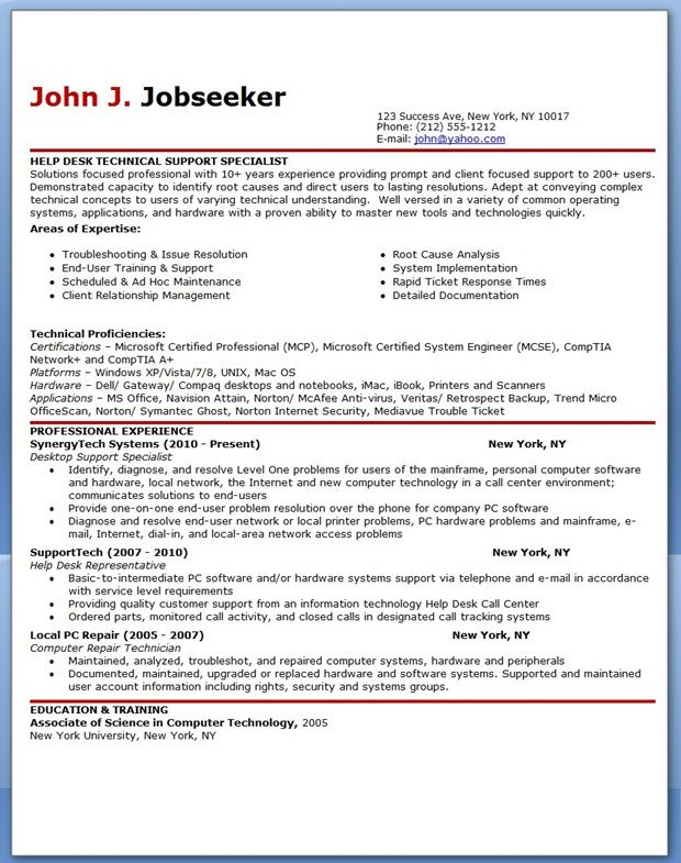 IT Help Desk Support Resume Sample Creative Resume Design - intelligence specialist sample resume