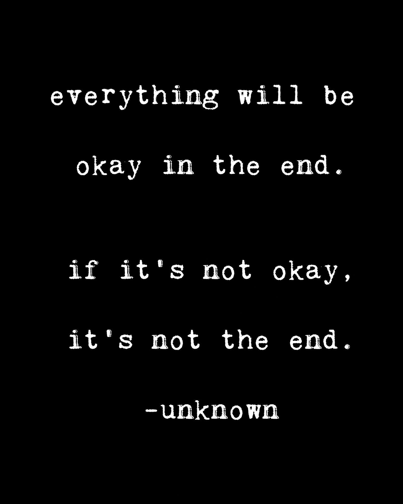 lulusimonSTUDIO Everything Will Be Okay in the End Black and White Inspirational Typography Wall Plaque