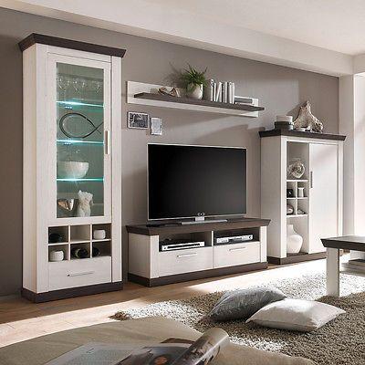 Wohnwand 3 Tiena Anbauwand Wohnzimmer in Pinie weiß und Wenge Haptik ...