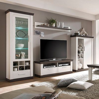 Ebay Angebot Wohnwand 3 Tiena Anbauwand Wohnzimmer In Pinie Weiss