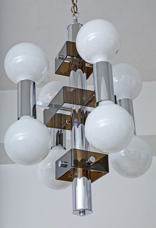 Mid Century Pendant Lamp Chrome And Lucite